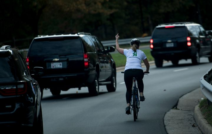 Juli Briskman gave the one-finger salute to President Donald Trump's motorcade last fall. The image went viral.