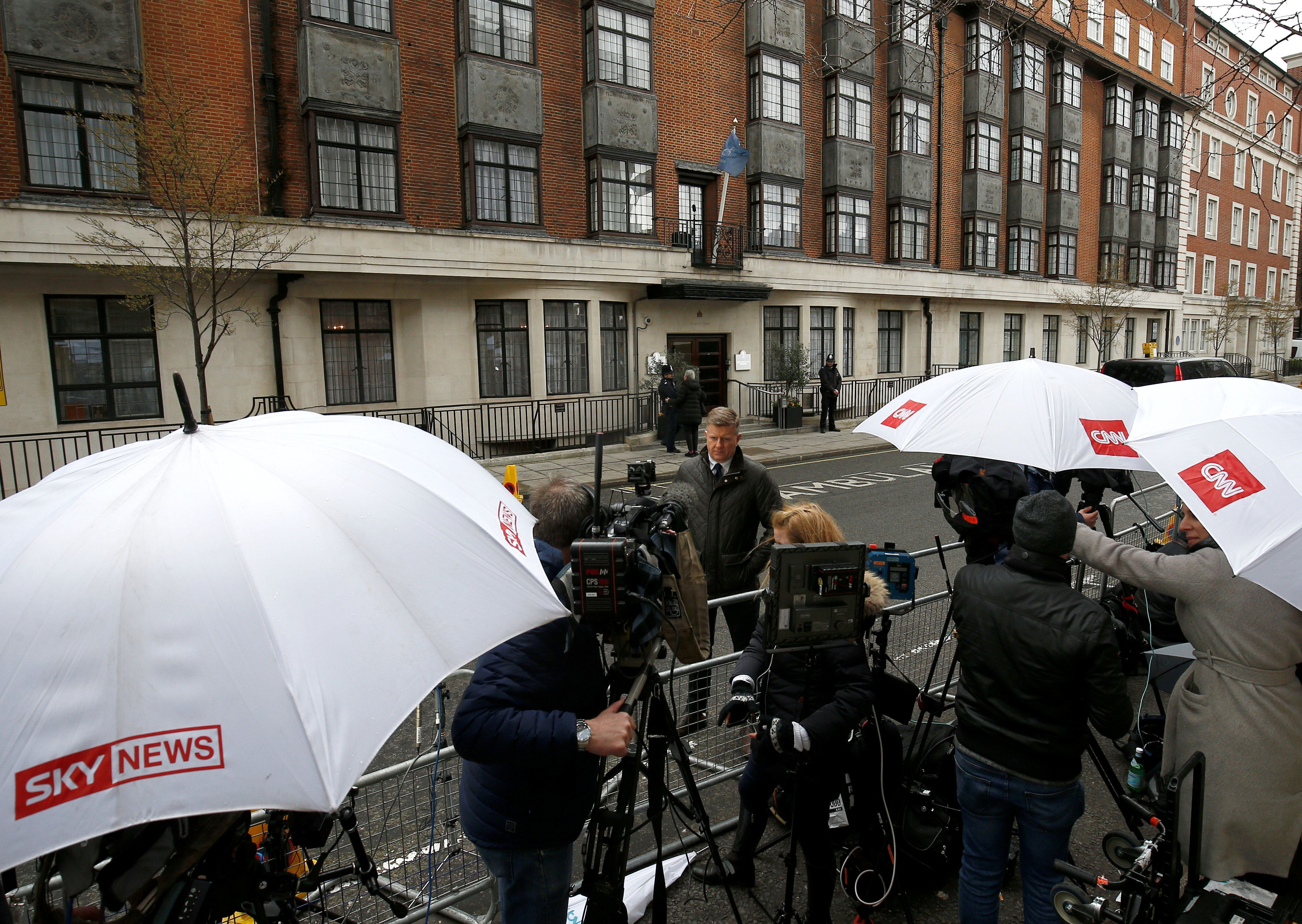 Henry Nicholls  Reuters                   Television crews and other media wait outside the King Edward VII's Hospital on Wednesday