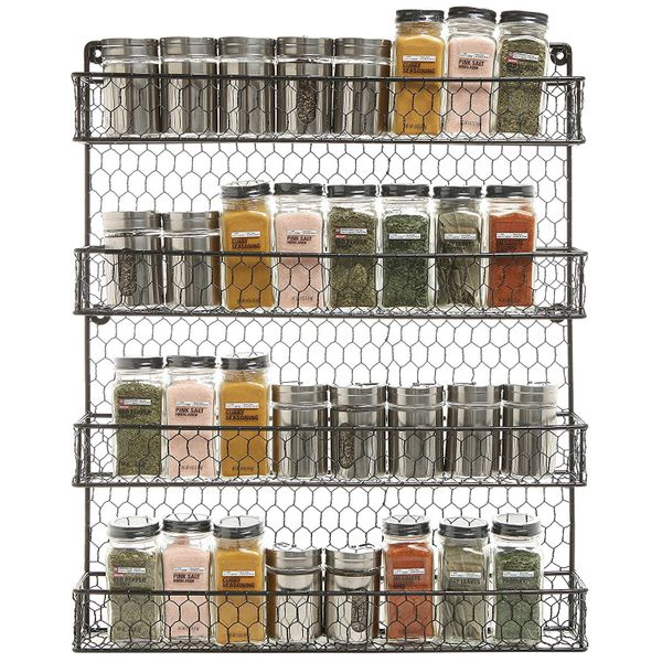 This four-tier spice rack is made with chicken wire, giving it a rustic aesthetic. Each row accommodates standard spice