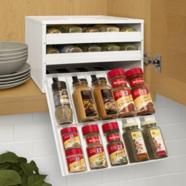 This unique storage solution stacks 30 bottles of your favorite spices and keeps them organized and within reach. It includes