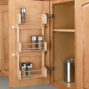 This durable spice rack is made from maple hardwood, and designed to be mounted to your cabinet door to easily store and orga