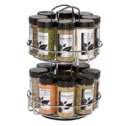 This spice rack operates like a Lazy Susan -- keeping your favorite spices easily accessible and organized. This spice rack i