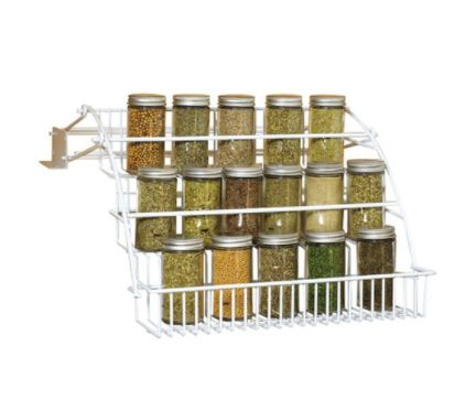 This spice rack has a pull-down design that gives you easily visibility to all of your favorite herbs and spices. It mounts o
