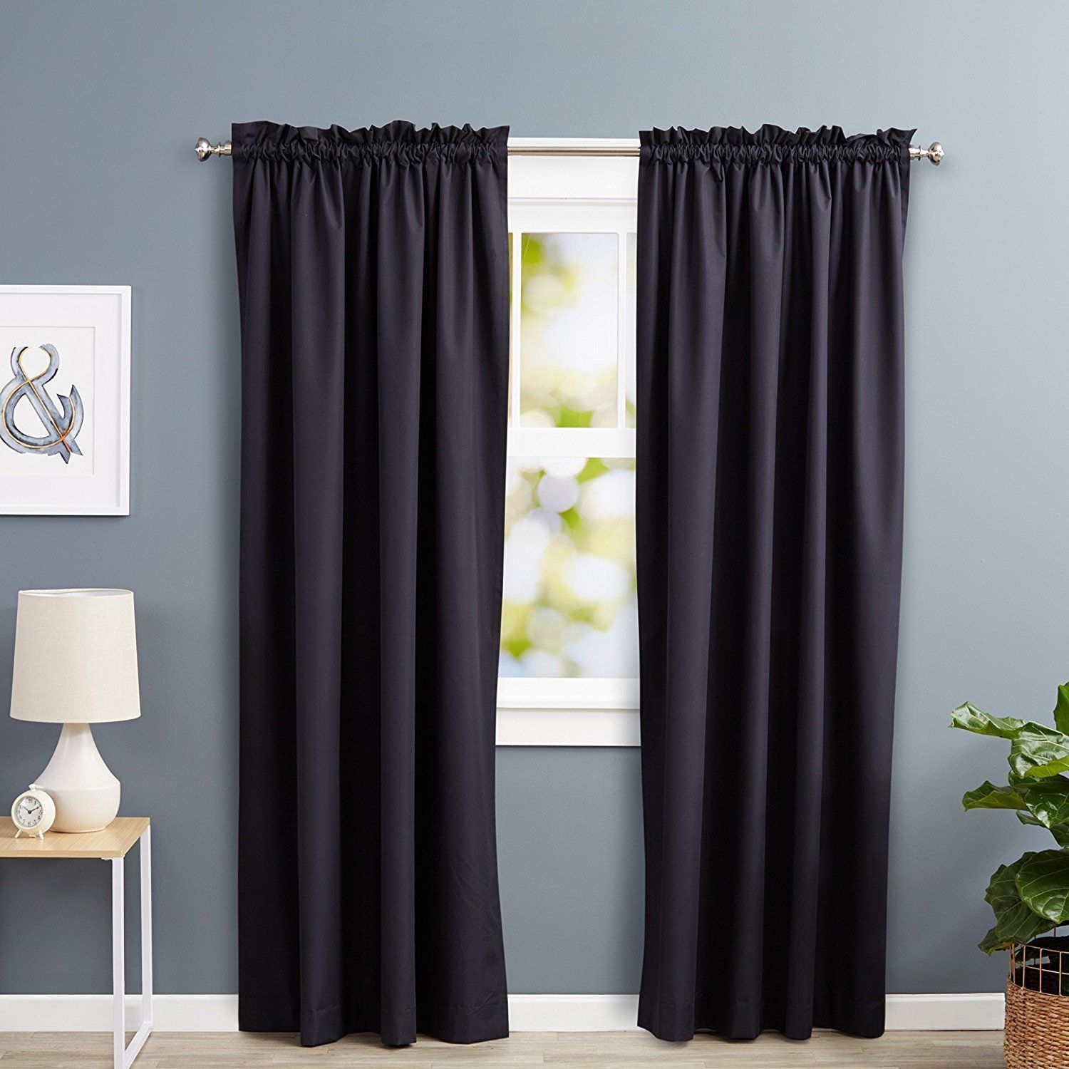 Amazon Basics Room Darkening Thermal Insulating Blackout Curtain Set With  Tie Backs. Amazon. Amazonu0027s Own Blackout Curtains ...