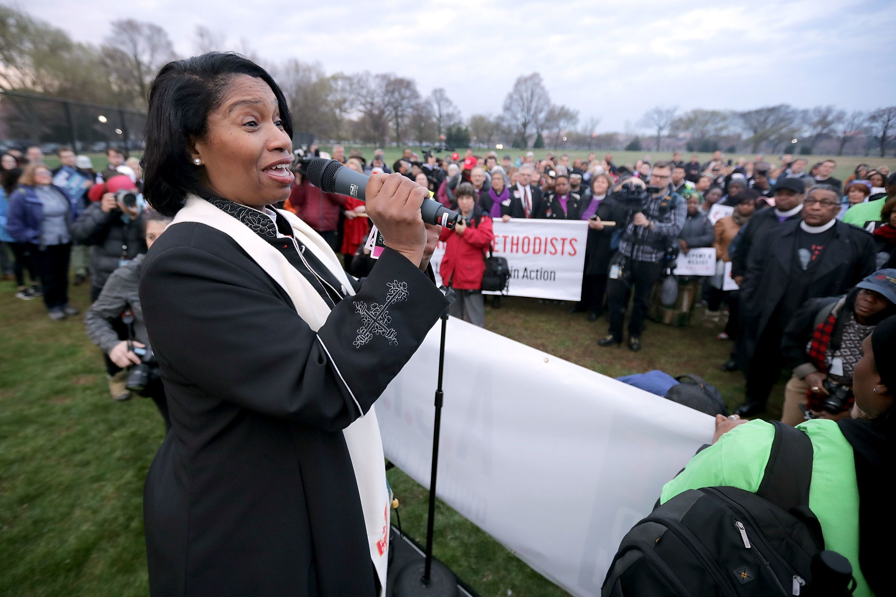 WASHINGTON, DC - APRIL 04:  The Rev. Dr. Leslie Copeland Tune addresses faith leaders as they prepare for a silent march from the Dr. Martin Luther King Jr. Memorial to the National Mall to mark the 50th anniversary of King's assassination April 4, 2018 in Washington, DC. Organized by A.C.T. To End Racism, religious leaders and others gathered to memorialize the day that Nobel Peace Prize and American civil rights leader King was killed while supporting a sanitation workers strike in Memphis, Tennessee.  (Photo by Chip Somodevilla/Getty Images)
