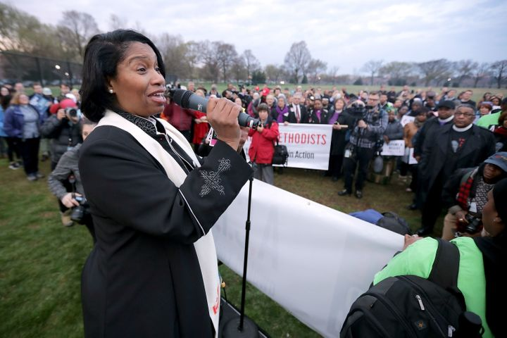 Rev. Dr. Leslie Copeland-Tune addresses faith leaders as they prepare for a silent march from the Martin Luther King Jr. Memo
