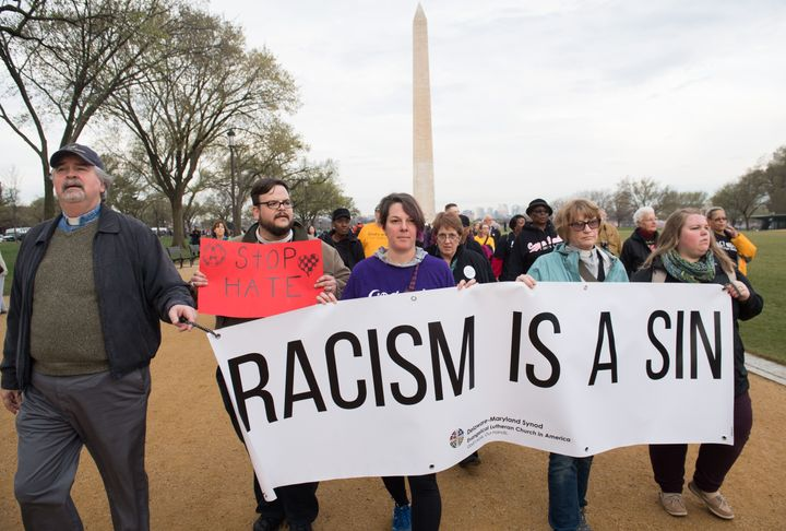 Marchers in Washington mark the 50th anniversary of the assassination of Martin Luther King Jr.