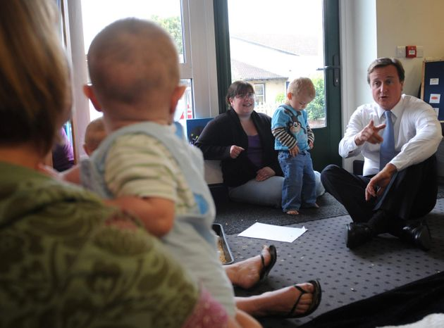 David Cameronat Sure Start Centre in Frome, Somersetin 2015