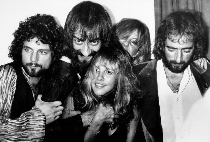 """Fleetwood Mac backstage at the Los Angeles Rock Awards in 1977, the same year their album """"Rumours"""" was released."""