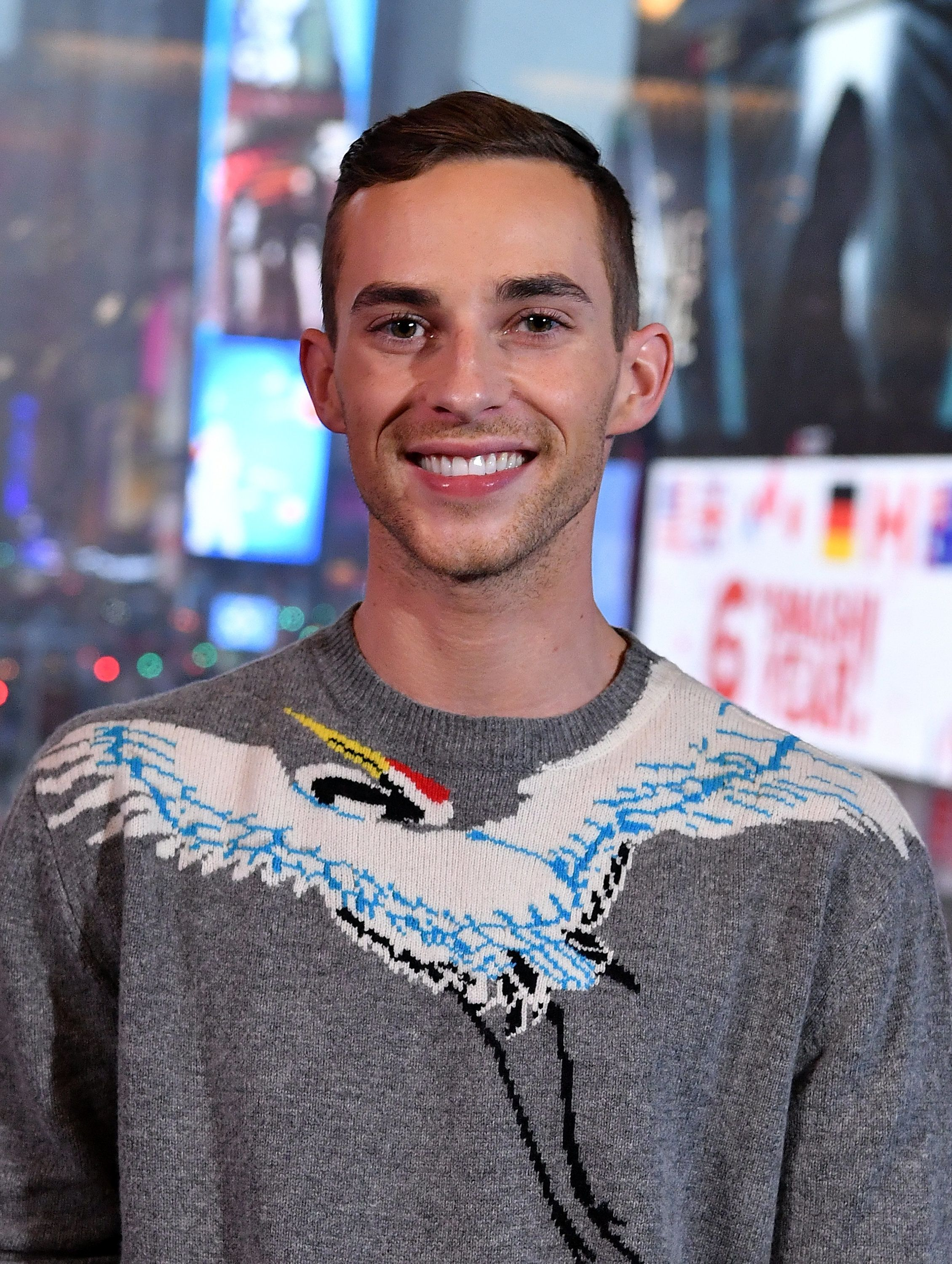 NEW YORK, NY - MARCH 07:  2018 Winter Olympics Bronze medal winner, figure skater Adam Rippon visits 'Extra' at Renaissance New York Times Square hotel at Times Square on March 7, 2018 in New York City.  (Photo by Slaven Vlasic/Getty Images)