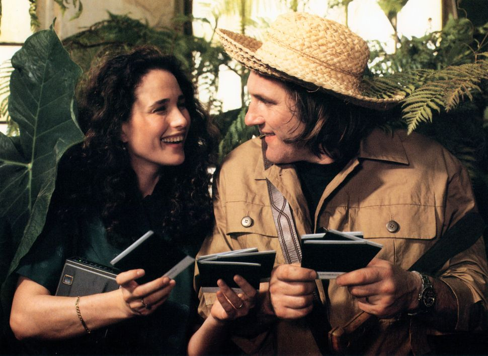 "Andie MacDowell and Gerard Depardieu in ""Green Card."""