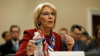U.S. Secretary of Education Betsy DeVos  testifies to the House Appropriations Labor, Health and Human Services, Education, and Related Agencies Subcommittee on the FY2019 budget request for the Department Education on Capitol Hill in Washington, U.S., March 20, 2018.      REUTERS/Joshua Roberts