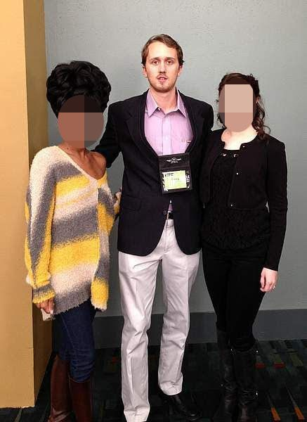 Douglass Mackey with two unidentified women at an event from his now-deactivated Couchsurfing