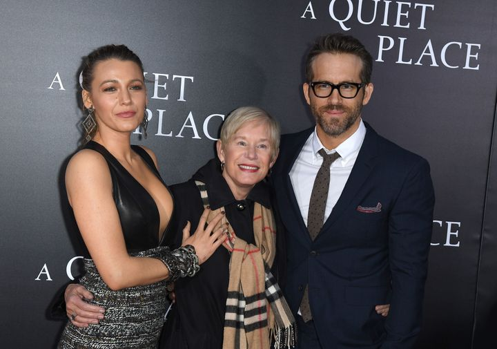 Blake Lively, Tammy Reynolds and Ryan Reynolds attend the premiere for 'A Quiet Place' in New York City.