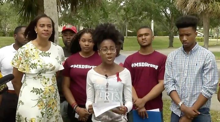 Black students at Marjory Stoneman Douglas High School hold a press conference on March 28, 2018, in Parkland, Florida.