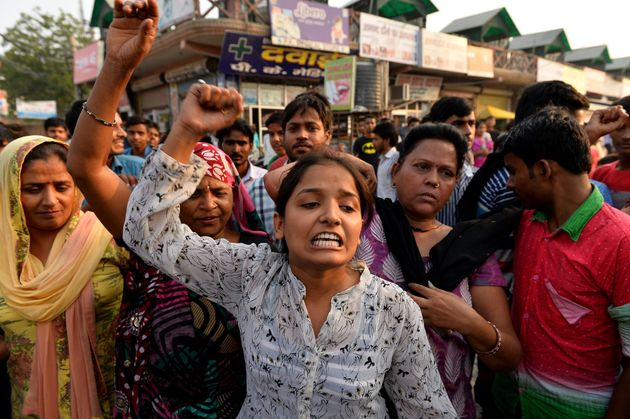 Sexual violence protesters on the streets of New Delhi in