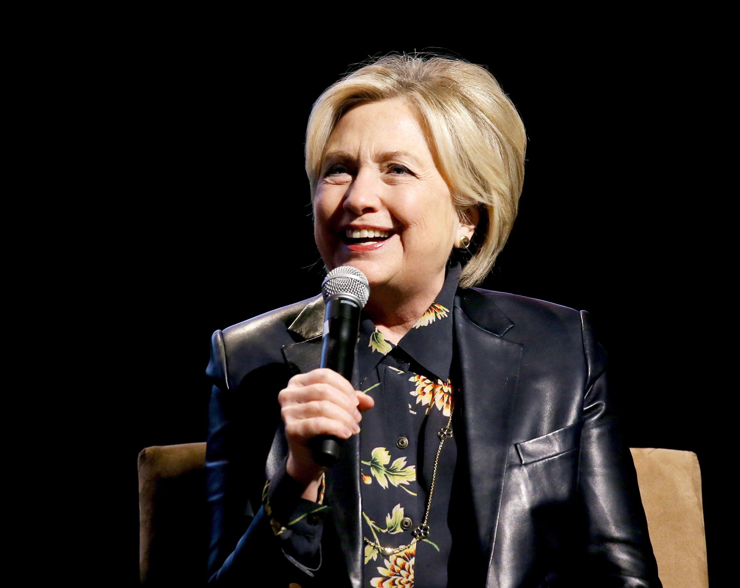 LOS ANGELES, CA - DECEMBER 15:  Former First Lady of the United States, Hillary Clinton speaks onstage during the LA Promise Fund's Girls Build Leadership Summit held at Los Angeles Convention Center on December 15, 2017 in Los Angeles, California.  (Photo by Michael Tran/FilmMagic)