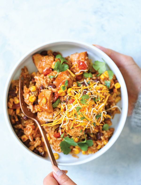 """<strong>Get the <a href=""""https://damndelicious.net/2018/02/26/instant-pot-20-minute-chicken-burrito-bowls/"""" target=""""_blank"""">I"""