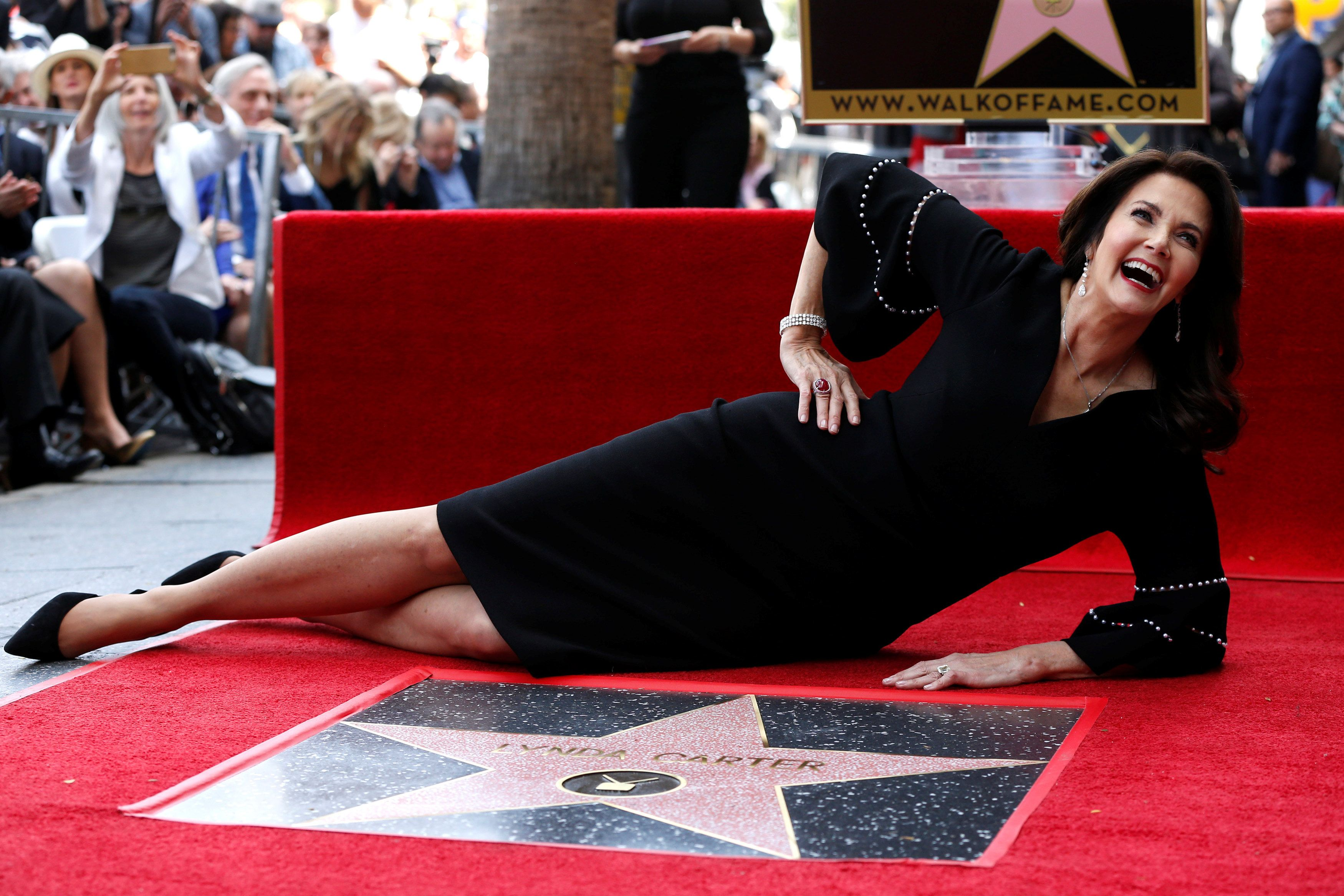Actor Lynda Carter poses after unveiling her star on the Hollywood Walk of Fame in Los Angeles, California, U.S., April 3, 2018. REUTERS/Mario Anzuoni