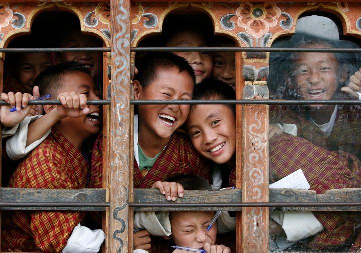 Schoolchildren in Thimphu, Bhutan.