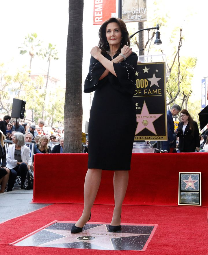 Carter posing after the unveiling of her star on the Hollywood Walk Of Fame.