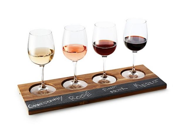 """Get it at <a href=""""https://www.uncommongoods.com/product/wood-slate-wine-tasters-board"""" target=""""_blank"""">Uncommon Goods</a> fo"""