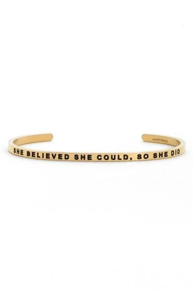 """Get it at <a href=""""https://shop.nordstrom.com/s/mantraband-she-believed-she-could-cuff/4283912?origin=category-personalizedso"""