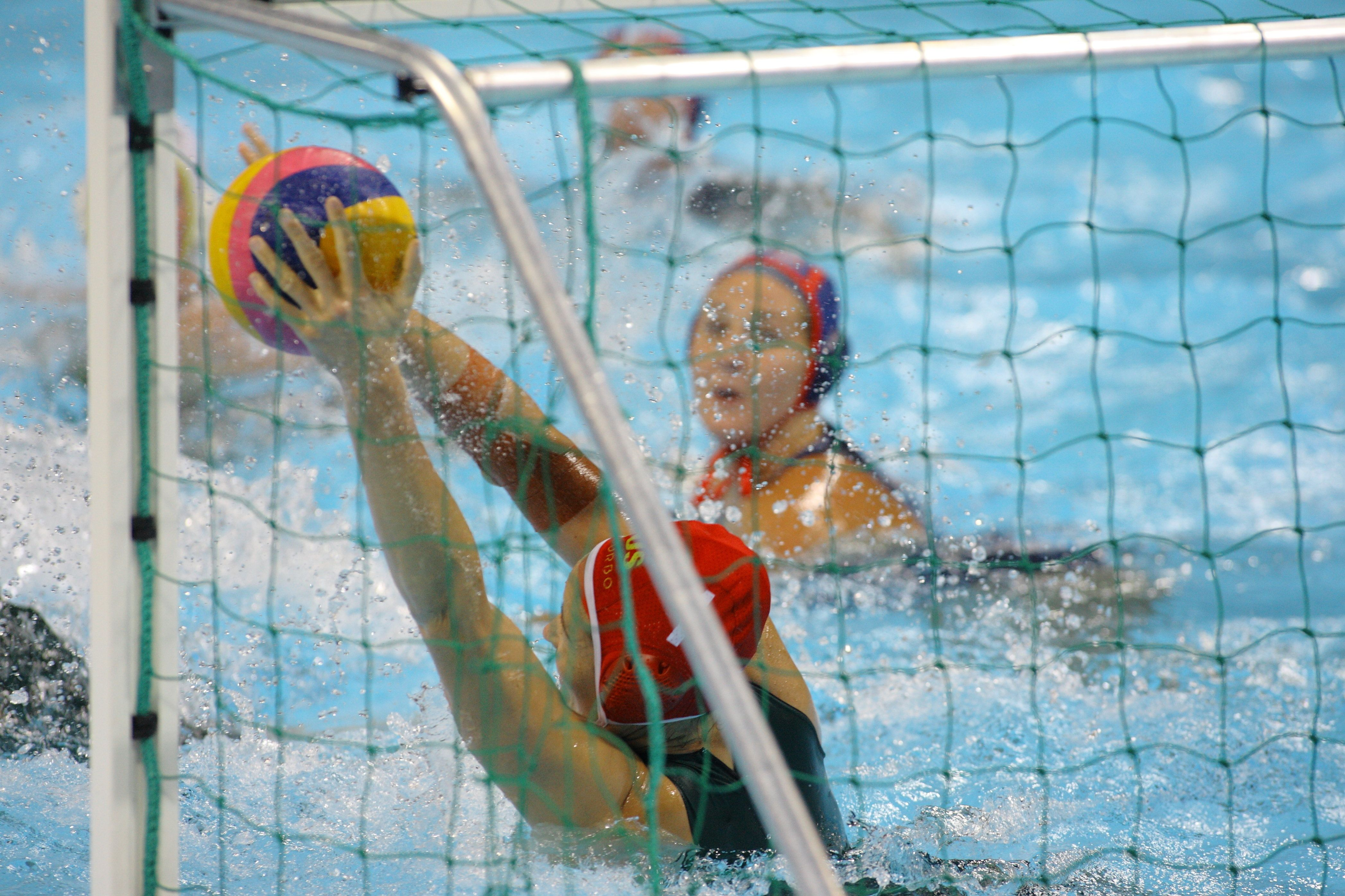 The Visa Water Polo International Women's competition, Australia vs USA at the Water Polo Arena London Olympic Park 4 May 2012 --- Image by �� Paul Cunningham/Corbis (Photo by Paul Cunningham/Corbis via Getty Images)
