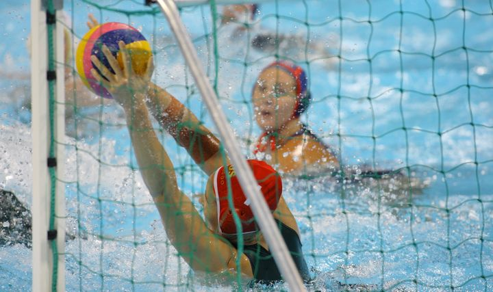Australia and USA compete in the Visa Water Polo International Women's competition in London, England, on Mary 4, 2012.