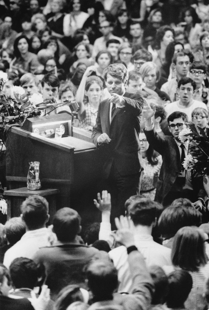 Robert F. Kennedy takes questions after giving his speech at the University of Kansas in March 1968.