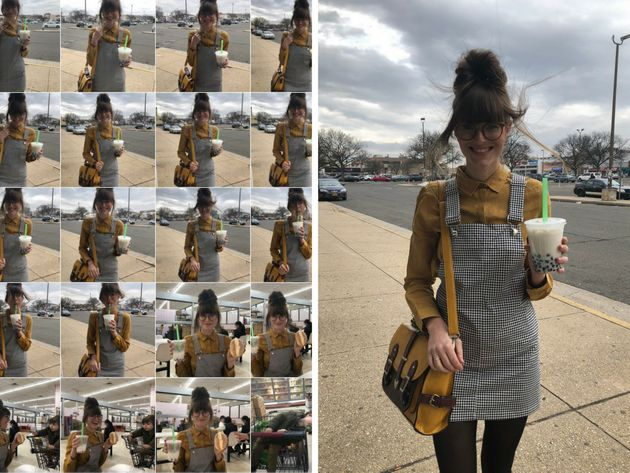 Left: Steffy Degreff's phone camera roll. Right: One of her outtakes, in which the wind had some...