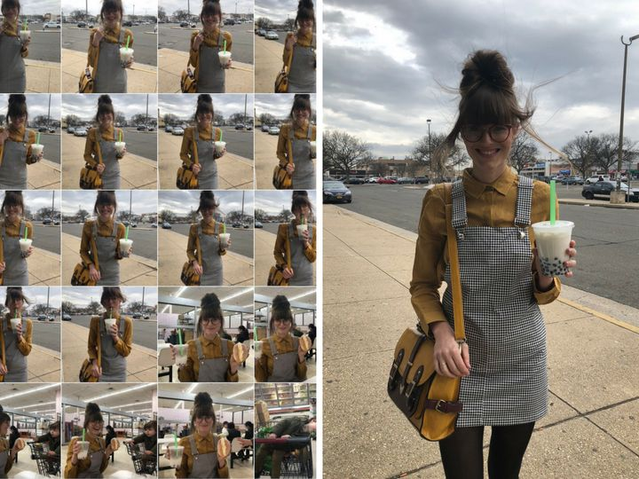 Left: Steffy Degreff's phone camera roll. Right: One of her outtakes, in which the wind had some fun with her hair.