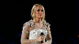 """51st Country Music Association Awards – Show - Nashville, Tennessee, U.S., 08/11/2017 - Carrie Underwood performs """"Softly and Tenderly"""" during the in memoriam segment of the show. REUTERS/Mario Anzuoni"""