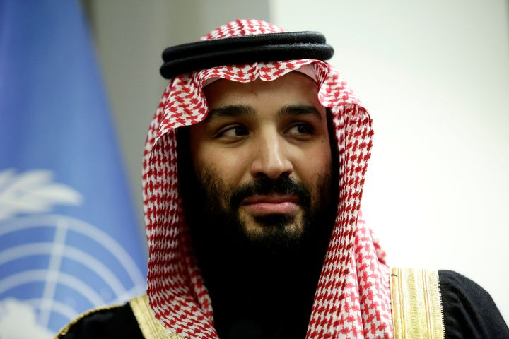Saudi Arabia's Crown Prince Mohammed bin Salman Al Saud is seen during a meeting at the United Nations headquarters in the Ma