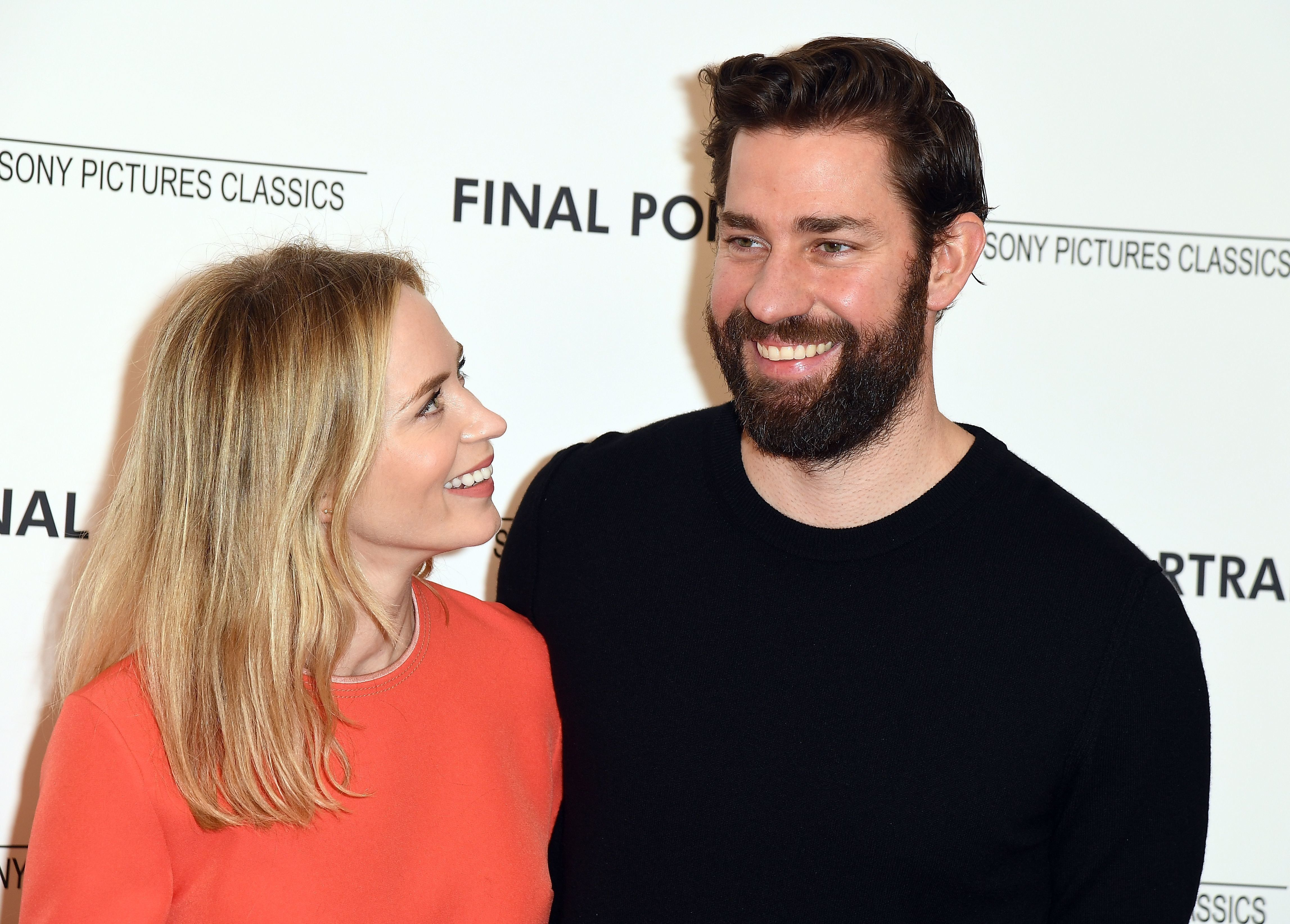 Emily Blunt and John Krasinski attend a film screening at the Guggenheim Museum in March.