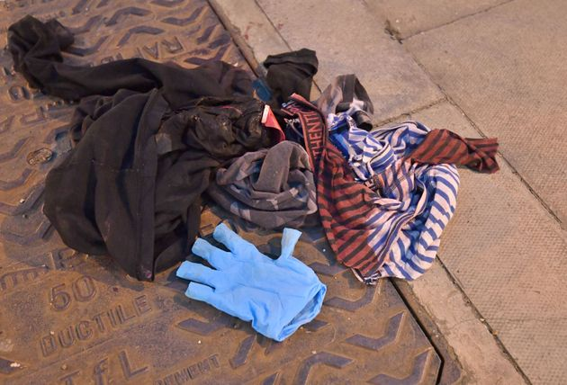 Bloodied items of clothing at the Mile End crime