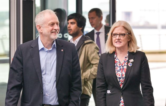 Jeremy Corbyn and Janet Davies at the RCN