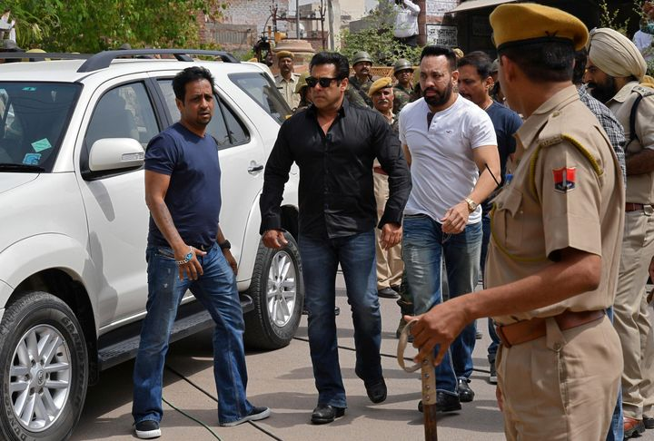 Bollywood actor Salman Khan arriving at a Jodhpur court on April 5, 2018.