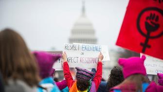 WASHINGTON, DC. - JAN. 21: Organizers put the Women's March on Washington in Washington D.C. on Saturday Jan. 21, 2017. (Photo by Damon Dahlen, Huffington Post) *** Local Caption ***