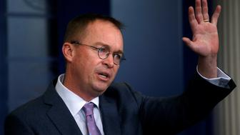 White House budget director Mick Mulvaney holds a daily briefing at the White House in Washington, U.S., March 22, 2018. REUTERS/Leah Millis