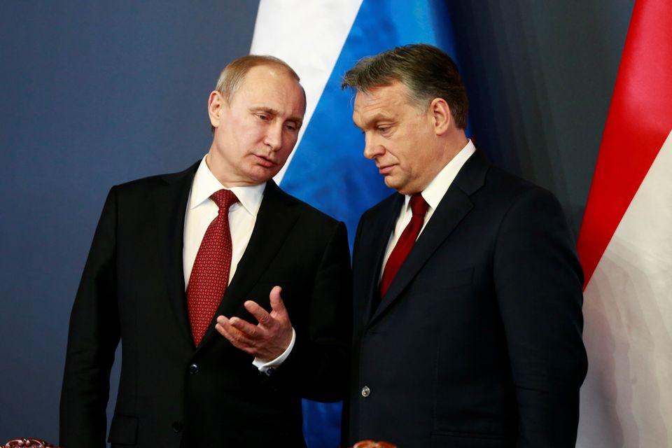 Wladimir Putin und Viktor Orbán bei einem Treffen im Februar