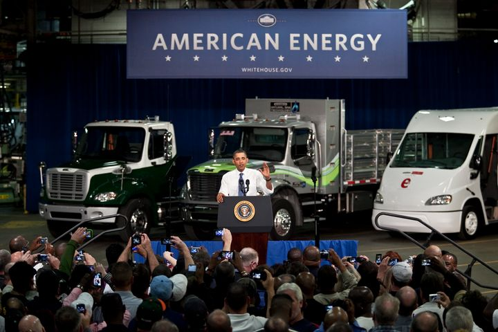 President Barack Obama delivers remarks on the economy at the Daimler Trucks North America Mt. Holly Truck Manufacturing Plan