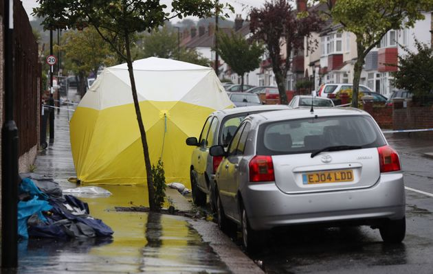 A police forensics tent at the scene where Goupall was stabbed in Thornton Heath, south