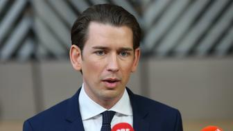BRUSSELS, BELGIUM - MARCH 22: Prime Minister of Austria Sebastian Kurz speaks to media ahead of the European leaders summit at the European Council in Brussels, Belgium on March 22, 2018.   (Photo by Dursun Aydemir/Anadolu Agency/Getty Images)