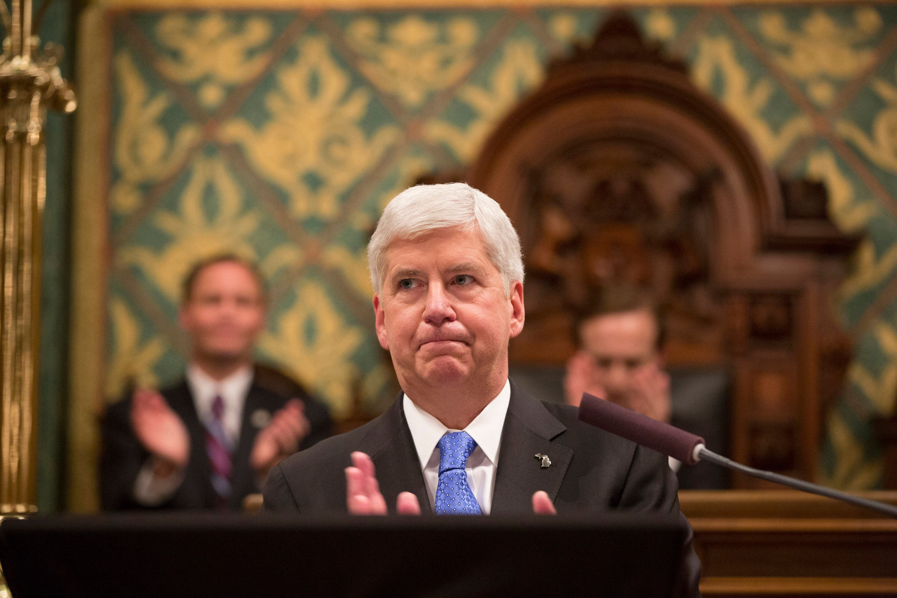 Michigan Gov. Rick Snyder delivers his State of the State in the House of Representatives Chamber on Jan. 23, 2018, at the State Capitol in Lansing, Mich. (Junfu Han/Detroit Free Press/TNS via Getty Images)