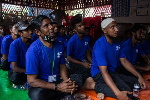 Rohingya refugees attend a training session on responding to elephantsat Kutupalong in late