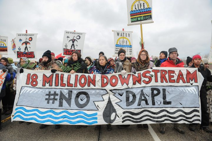 Demonstrators block a highway in North Dakota in 2016, protesting plans to run the Dakota Access pipeline near the Standing R