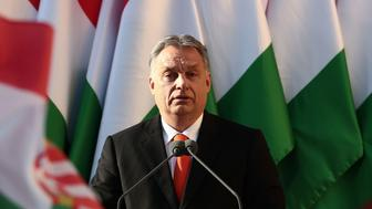 Hungarian Prime Minister Viktor Orban delivers his speech during the last campaign event of his Fidesz party in Szekesfehervar, Hungary on April 6, 2018.  Hungarians vote in elections on April 8, 2108 that polls suggest will give Prime Minister Viktor Orban athird consecutive term. / AFP PHOTO / FERENC ISZA        (Photo credit should read FERENC ISZA/AFP/Getty Images)