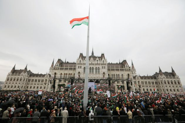People gather at a pro-Orbán rally during Hungary's National Day celebrations on March 15,