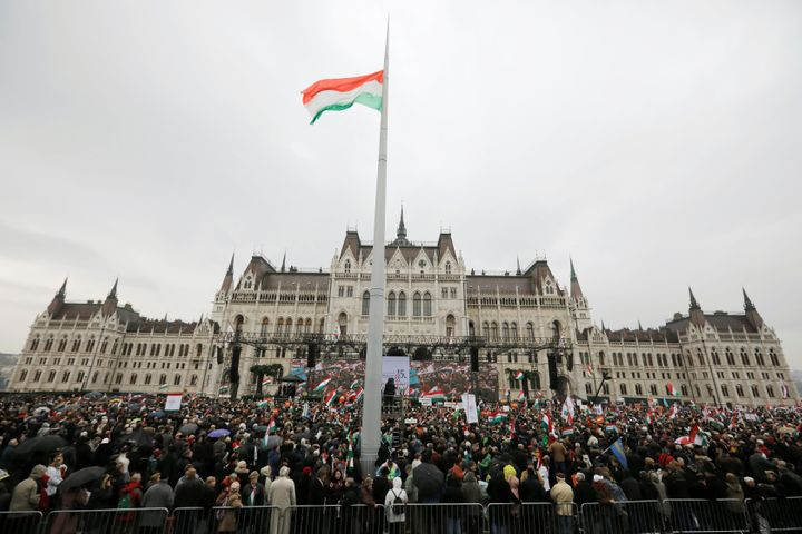 People gather at a pro-Orbán rally during Hungary's National Day celebrations on March 15, 2018.